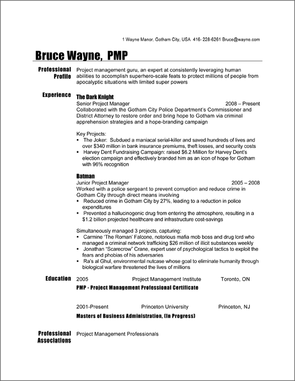 Project Manager Resume Sample - Batman